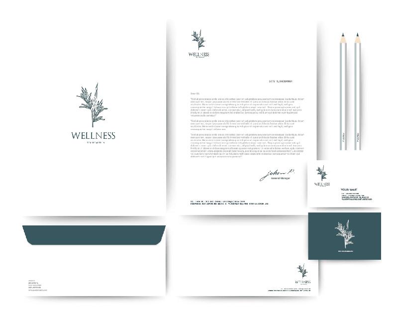 Printdesign Und Werbe Technik Büro Blanko Konzept Design